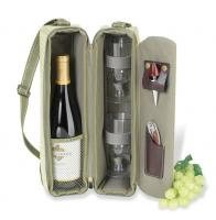 Picnic at Ascot Deluxe Insulated Wine Tote with 2 Wine Glasses, Napkins and Corkscrew - Olive Tweed