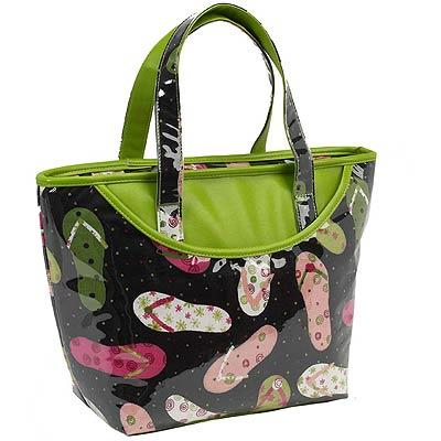 Picnic at Ascot Large Beach Tote with Fashionable Flip Flop Fabric