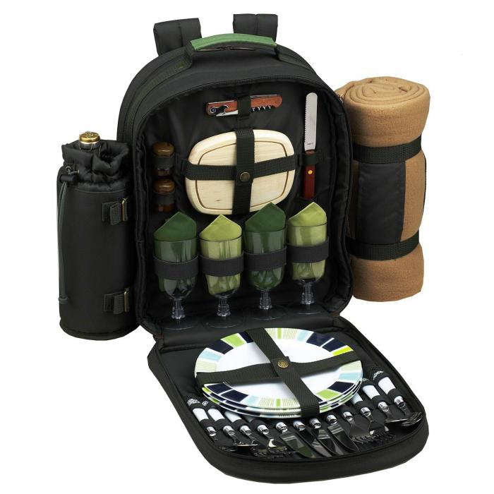 Picnic at Ascot Deluxe Equipped 4 Person Eco Picnic Backpack w/Cooler, Insulated Wine Holder & Blanket - Forest Green