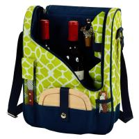 Wine & Cheese Cooler Bag w/Glasses for 2 -Trellis Green