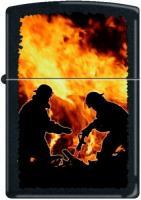 Zippo 218 Black Matte-Firemen Silhouettes