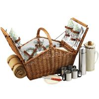 Picnic at Ascot Huntsman Basket for 4 with Coffee Set & Blanket - Gazebo