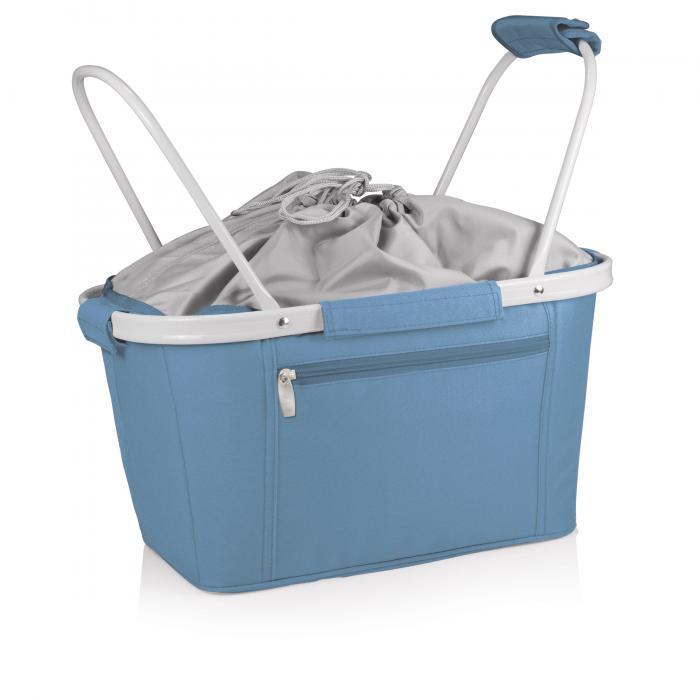 Picnic Time Metro Waterproof Polyester Canvas Empty Picnic Basket, Vista Blue