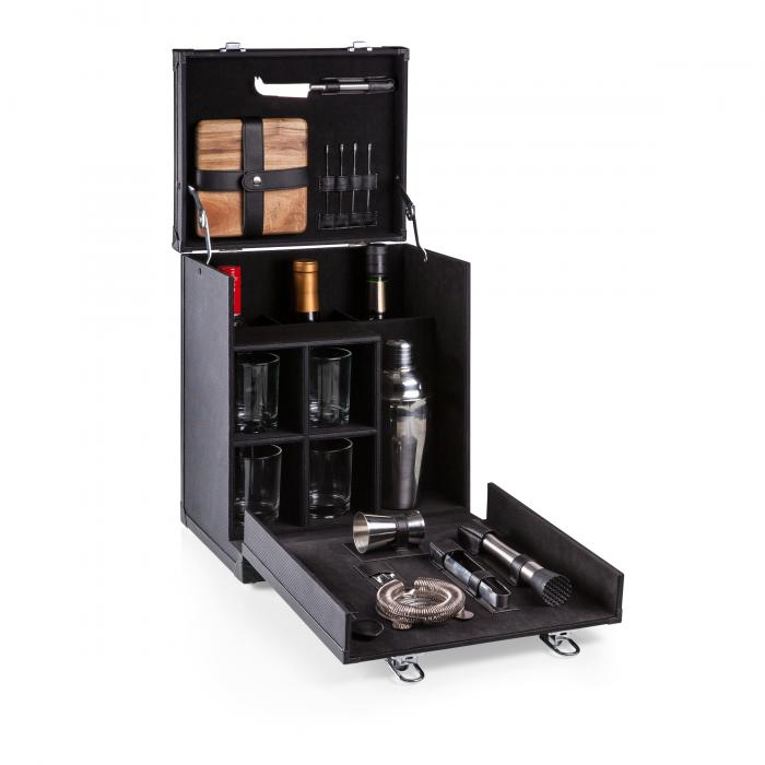 Picnic Time Hamilton Travel Bar for Four (Black)
