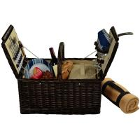 Picnic at Ascot Surrey Willow Picnic Basket with Service for 2 with Blanket - Blue Stripe