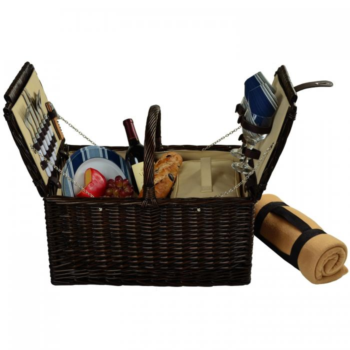 Picnic at Ascot Surrey Willow Picnic Basket with Service for 2 with Blanket -Brown Wicker/Blue Stripe