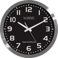 """La Crosse Technology 16"""" Brushed Metal, Black Face Atomic Analog Wall Clock"""