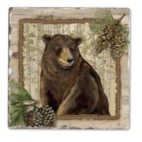 Counter Art Forest Trails Bear Single Tumbled Tile Coaster