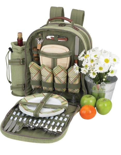Picnic at Ascot Deluxe Equipped 4 Person Picnic Backpack with Cooler & Insulated Wine Holder - Olive Tweed