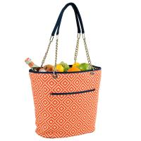Picnic at Ascot Large Insulated Fashion Cooler Bag - 22 Can Tote - Orange/Navy