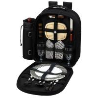 Picnic at Ascot Deluxe Equipped 2 Person Picnic Backpack - Black
