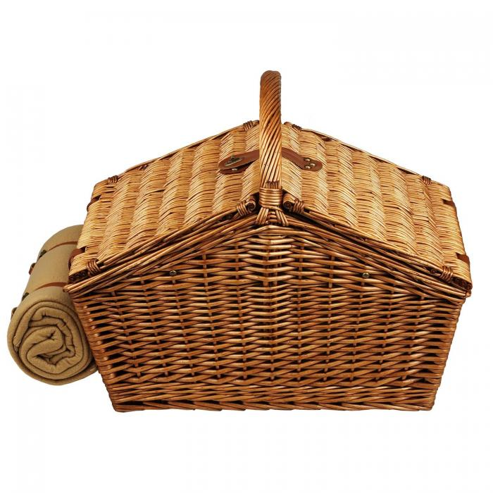 Picnic at Ascot Huntsman English-Style Willow Picnic Basket with Service for 4 and Blanket - Gazebo
