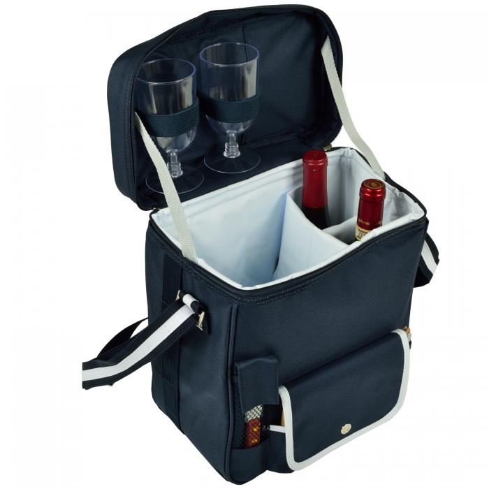Picnic at Ascot Wine & Cheese Cooler Tote (Navy/White) w/ Acrylic Glasses