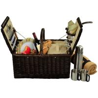 Picnic at Ascot Surrey Picnic Basket for 2 w/Blanket & Coffee, Brown Wicker/Hamptons