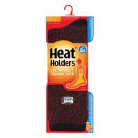 Grabber Heat Holders Mens Twist Crew Sock-Black/Burgundy