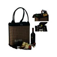 Picnic Plus Jasmine 2 Person Bamboo Wine and Cheese Tote, Black & Tan