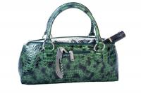 Wine Clutch- Forest Green Croc  Insulated Single Bottle Wine Tote