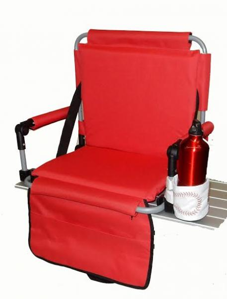 Pacific Import Bleacher Bum Stadium Seat w/ Embroidered Baseball Drink Holder, Red