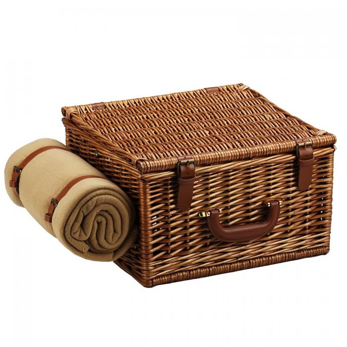 Picnic at Ascot Cheshire English-Style Willow Picnic Basket with Service for 2, Coffee Set and Blanket - Gazebo