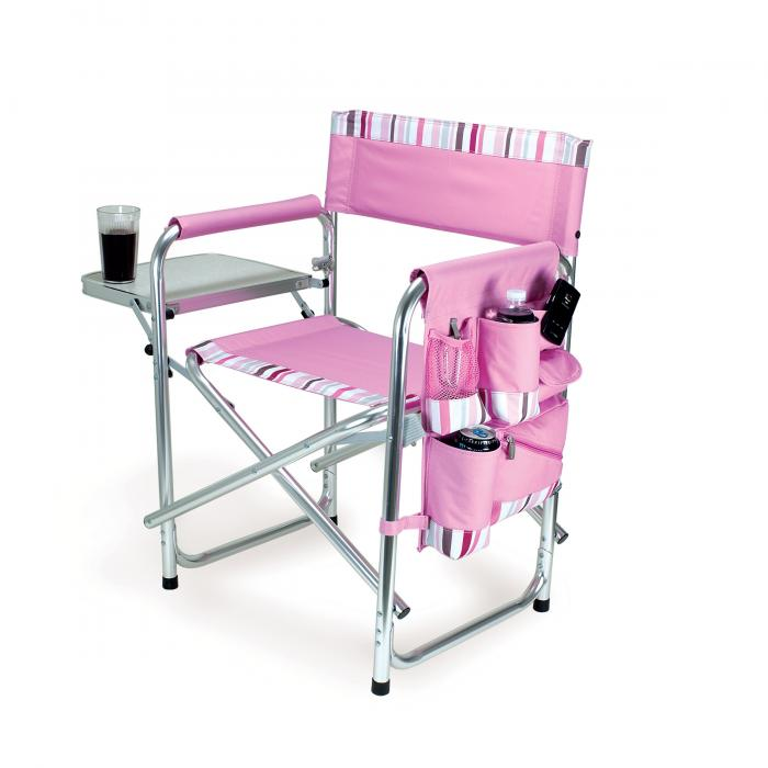 Picnic Time Portable Folding Sports/Camping Chair w/Pockets and Side Table, Pink with Stripes