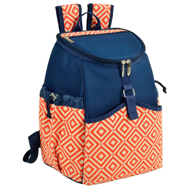 picnic at ascot insulated backpack cooler orangenavy - Backpack Coolers
