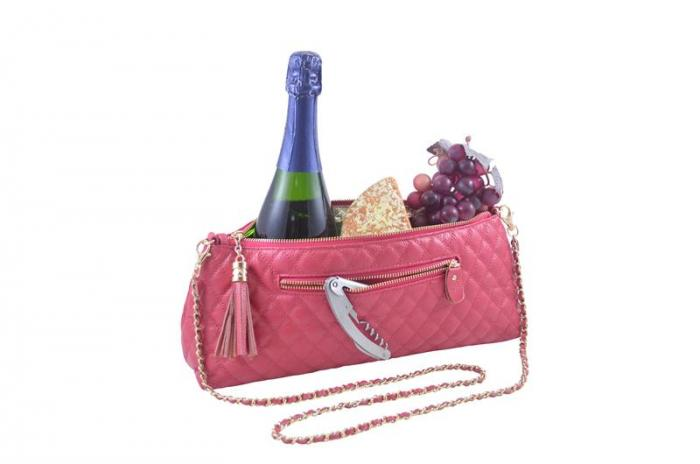 Picnic Gift - Soriee - Leather Wine Single Bottle Carrier Pink
