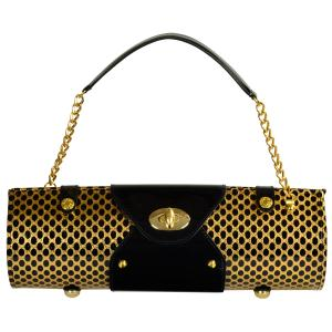 Picnic at Ascot Wine Carrier & Purse - Patent Gold/Black