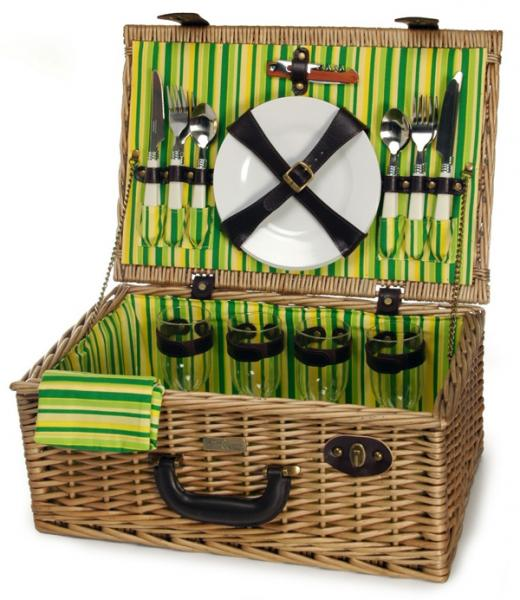 Picnic & Beyond Springtime Elite Willow Picnic Basket for Four