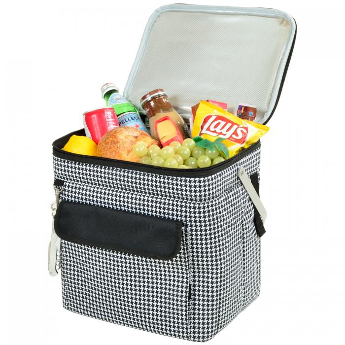 Picnic at Ascot 6 Bottle Insulated Wine Tote- Collapsible Multi Purpose Cooler - Houndstooth