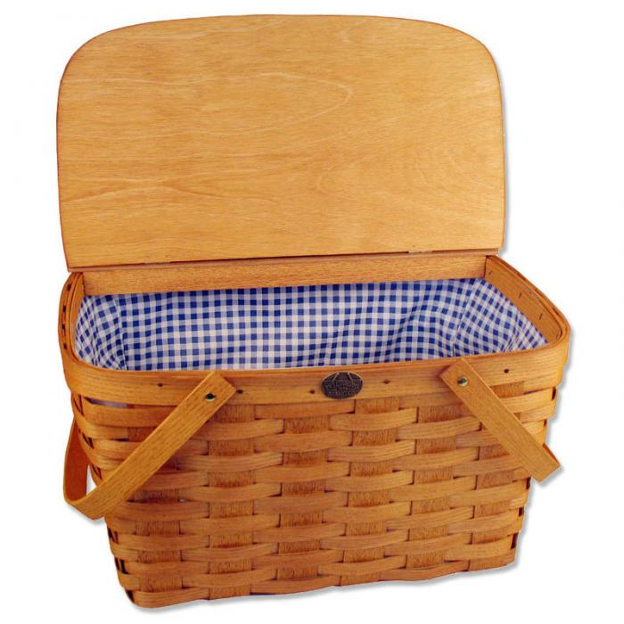 Peterboro Basket Co. Honey Color Traditional Empty Picnic Basket