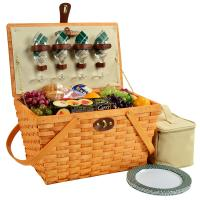 Picnic at Ascot Settler Traditional American Style Picnic Basket with Service for 4 - Green Plaid