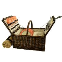 Picnic at Ascot 714B-DO Buckingham Willow Picnic Basket w/Service for 4 with Blanket - Diamond Orange