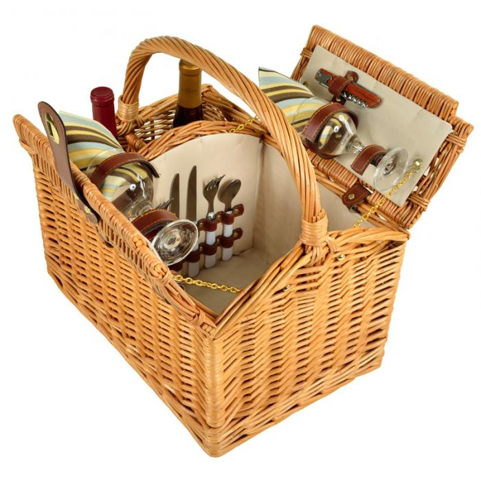 Picnic at Ascot Vineyard Willow Picnic Basket with service for 2 - Santa Cruz