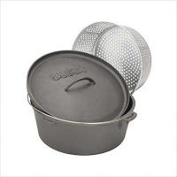 Bayou Classic 12-Quart Cast Iron Dutch Oven with Lid and Perforated Aluminum Basket