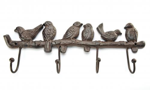 Giftcraft Cast Iron Bird & Branch Wall Decor With 4 Hooks