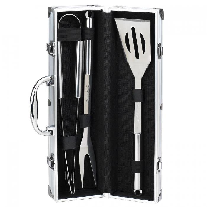Picnic at Ascot 3 Piece Stainless Steel BBQ Barbecue Grill Tool Set with Aluminum Case