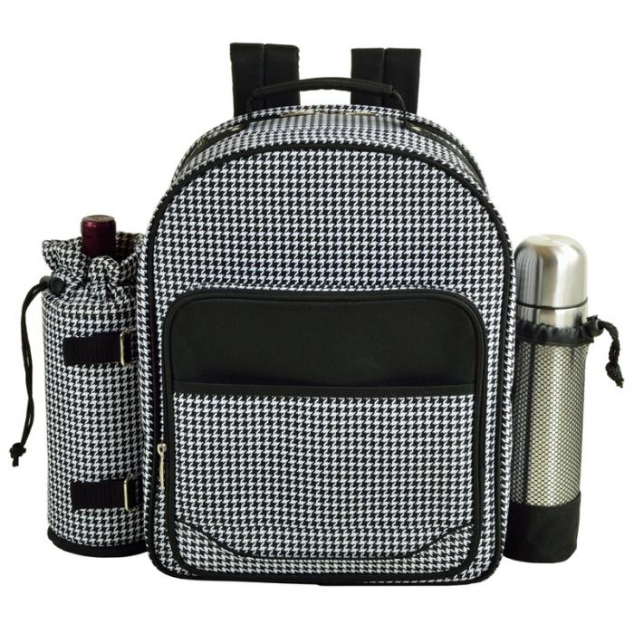 Picnic at Ascot Deluxe Equipped 2 Person Picnic Backpack w/Coffee Service, Cooler & Insulated Wine Holder - Houndstooth