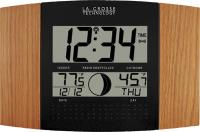 La Crosse Technology Oak Atomic Digital Wall Clock with Moon & IN/OUT Temp