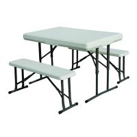 "Stansport Folding Table With Bench Seats - White - 44"" X 26"" X 28"""