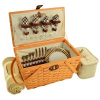Picnic at Ascot Settler Traditional American Style Picnic Basket for 4 w/Blanket - London