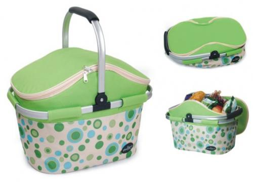 Picnic & Beyond Aluminum Framed Green Empty Picnic Cooler Basket