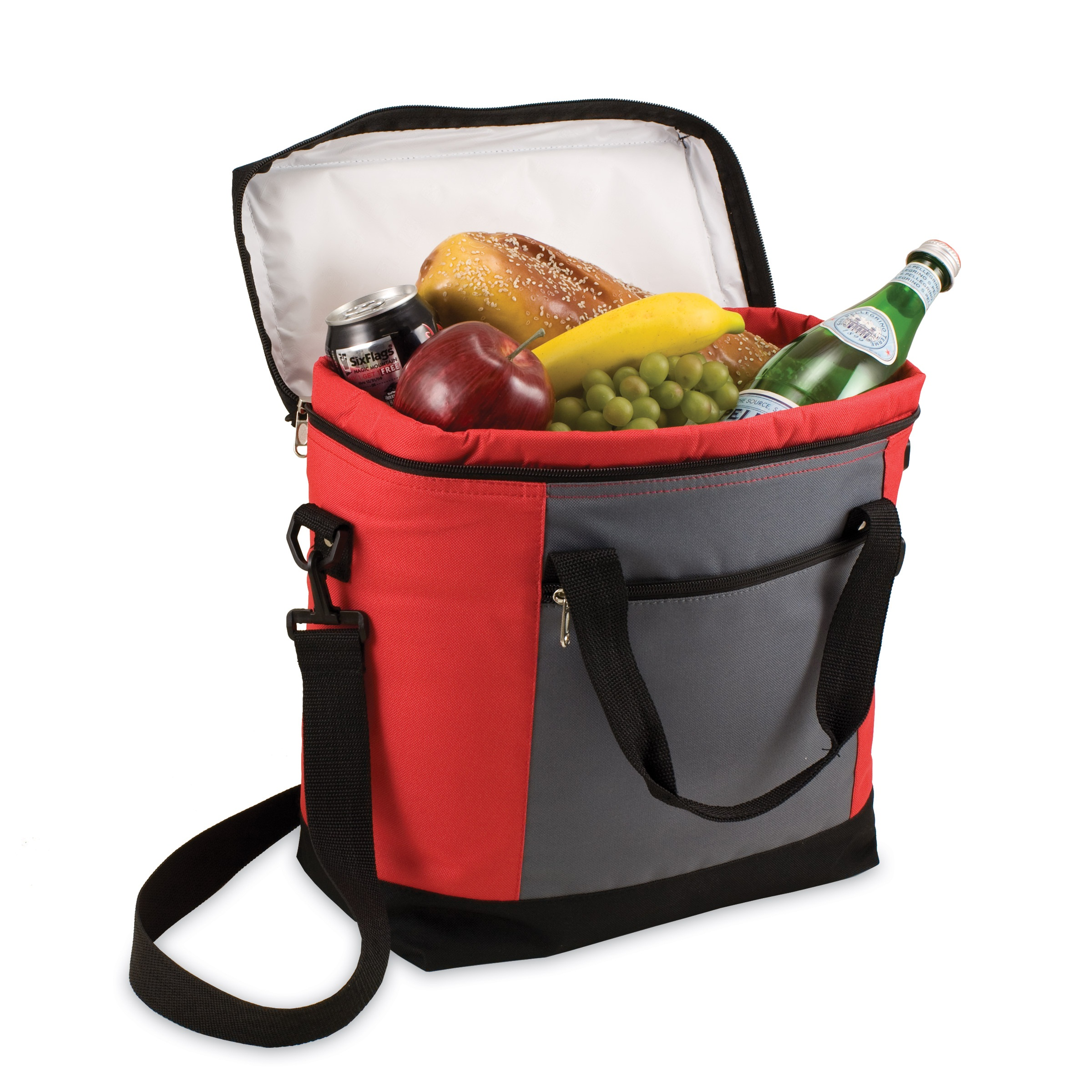 picnic time montero insulated cooler tote red gray and black. Black Bedroom Furniture Sets. Home Design Ideas