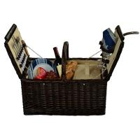 Picnic at Ascot Surrey Picnic Basket for 2, Brown Wicker/Blue Stripe