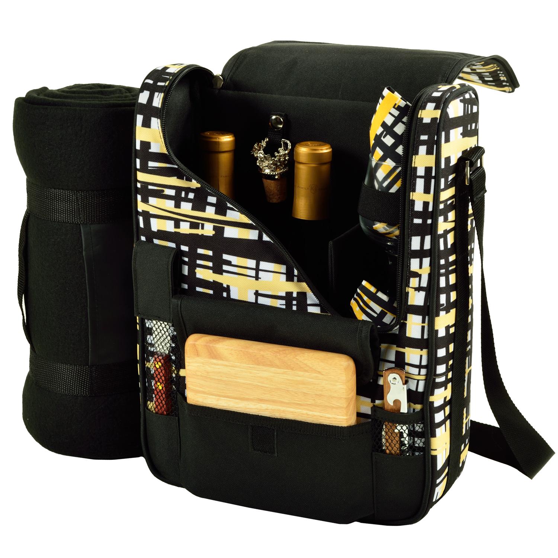 Picnic At Ascot Bordeaux Wine Cheese Cooler Bag W Glass Wine Glasses Blanket Paris