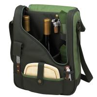 Picnic at Ascot Wine and Cheese Cooler Bag Equipped for 2 - Forest Green
