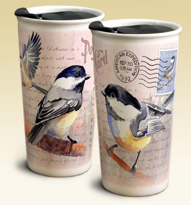 Chickadee Postcard Ceramic Travel Mug