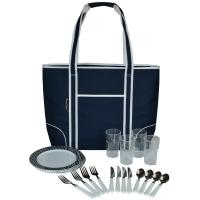 Picnic at Ascot Extra Large Insulated Picnic Bag Equipped for 4 - Navy/Brown