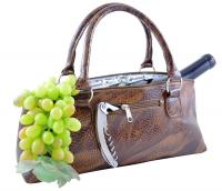 Primeware Brown Serpentes Insulated Single Bottle Wine Clutch