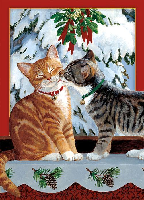 Tree Free Greetings Kitten Kiss Christmas