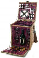 Picnic & Beyond Tuscan Deluxe Willow Picnic Basket for Four with BBQ Tools and Wine Bottle Holder